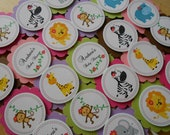 Custom Listing for (Erica Manocchio)- Jungle, Safari, Girl- 65 Cupcake Toppers or Party Favor Tags for Baby Shower, Handmade, 3D