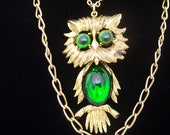 Emerald Green jelly belly Owl statement necklace