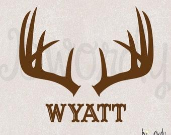 Antlers and Custom Name, Bedroom Vinyl Decal- Wall Art, Hunting Boy
