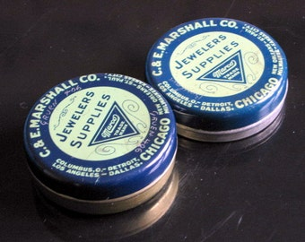 1950s-60s Set of 2 Small Round C & E Marshall Co. Marco Jewlers Supplies Tin