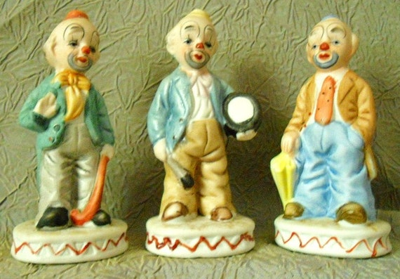 Vintage Trio of Whimsical Porcelain Clown Figurines