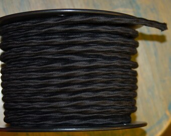6 Feet: Black Cloth Covered 3-Wire Overbraid Cord, Vintage Style Fabric Lamp Cord 16-Gauge, For Hanging Pendants, Trouble Lights etc
