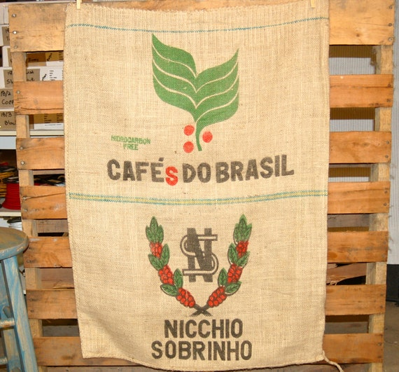 Burlap Coffee Bag / Bean Sack. Cafes Do Brasil Design, Authentic Fabric for Wall Art, Bags, Upholstery, Upcycle projects, etc