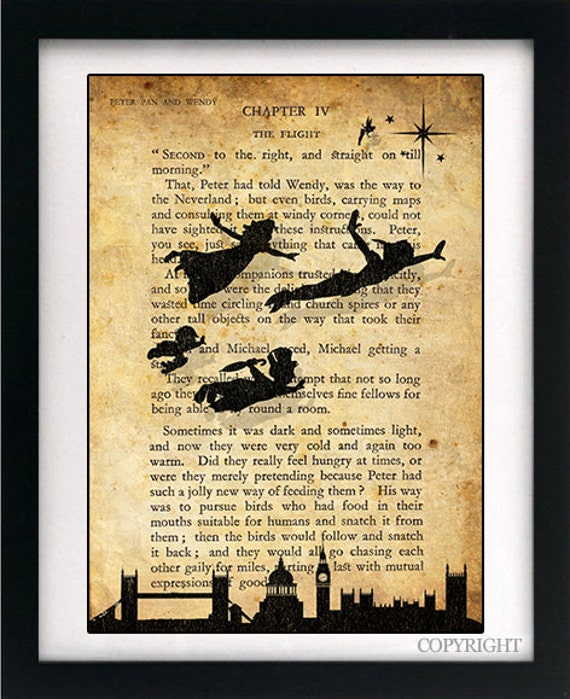 Peter Pan amp Wendy Children Flying Art Book Print A4 Or A3 Large