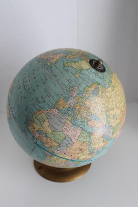 Vintage Cottage World Globe on Gold Metal Stand