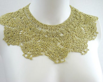 Exclusive gold crochet lace collar - fashion accessory