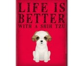 """Shih Tzu Kitchen Magnet - Life Is Better with a Shih Tzu - Shih Tzu Lover - Refrigerator Magnet - Refrigerator Magnet 2.5""""x 3.5"""" - LIB - SHI"""