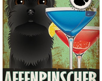 Affenpinscher Drinking Dogs Original Art Poster Print - Personalized Dog Wall Art -11x14- Customize with Your Dog's Name - Dogs Incorporated