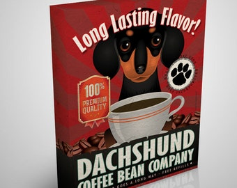 "Dachshund  Canvas - Coffee Bean Company - 100% Cotton Canvas 11""x 14"" - 1.5 inch Gallery Wrap -  from Dogs Incorporated"