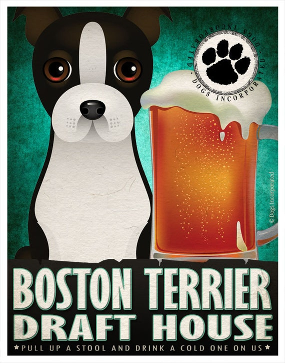 Boston Terrier Drinking Dogs Original Art Poster Print - Personalized Dog Art -11x14- Customize with Your Dog's Name - Dogs Incorporated