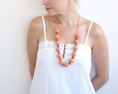 textile necklace Orange long beads handmade necklace thread cotton for women lace textile wooden beads natural
