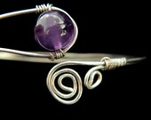 Wire wrapped amethyst bracelet silver bangle cuff swirl purple gemstone
