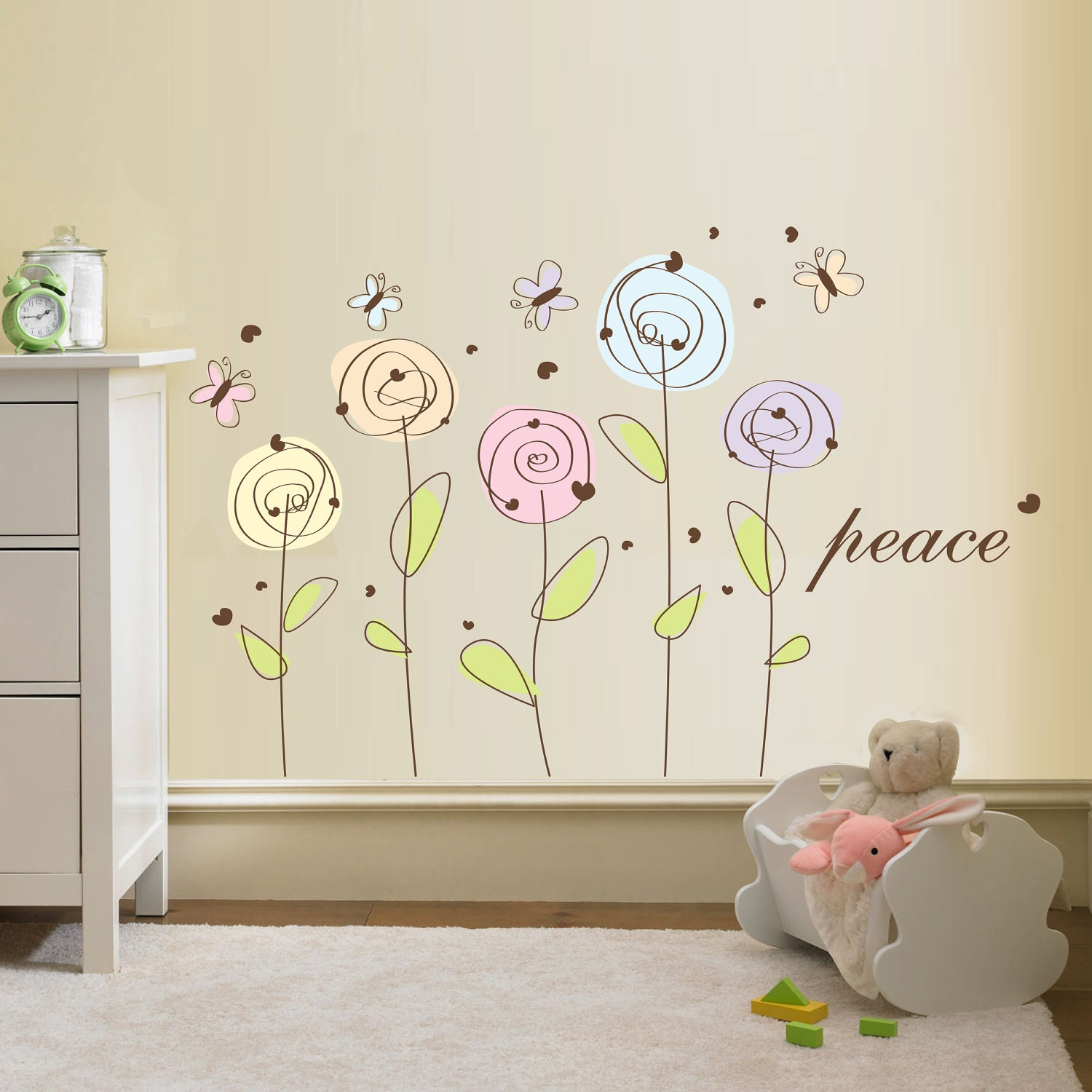 Wall Decor Stickers Flowers : Wall decals flowers grasscloth wallpaper