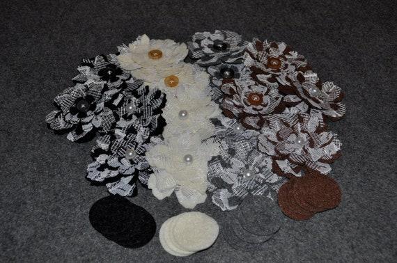 Felt and lace layered, tattered flower embellishments, Handmade,  No.  28