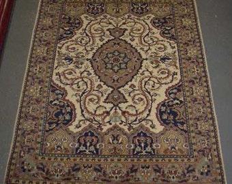 1980s Vintage, Hand-Knotted, Indo-Tabriz Rug (1607)