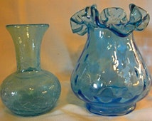 SALE Vintage Very Pretty Delicate Blue Glass Vase Set of Two--One Crackle and One Scallop