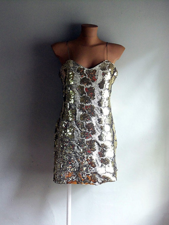 Dave & Johnny Gold Sequin Cocktail Dress