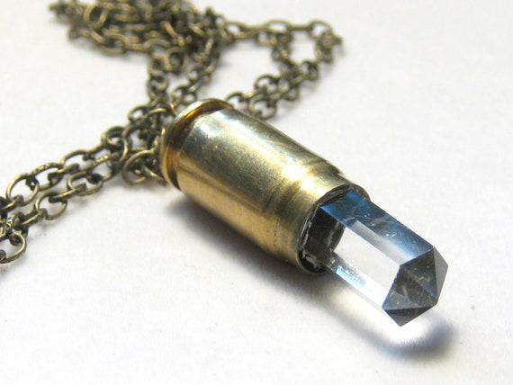 Faceted Crystal Quartz Point 357 Brass Bullet Necklace