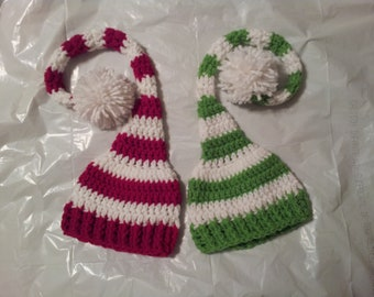 Newborn Green or Red Long Tailed Elf Hat