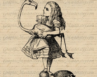 Alice in Wonderland Digital Collage Sheet Graphics for Iron on Transfer to Fabric Clothing Pillows Tea Towels Tote Bags Paper a210