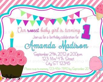 Cupcake Sweet Shop Birthday Invitation