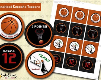 Basketball Cupcake Toppers and Gift Tags