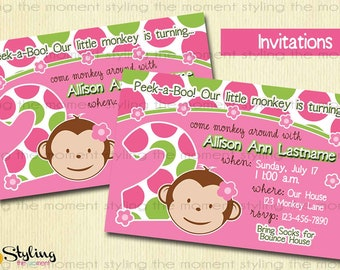 Pink Mod Monkey Invitation