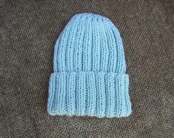 Knitted Turquoise Ribbed Hat