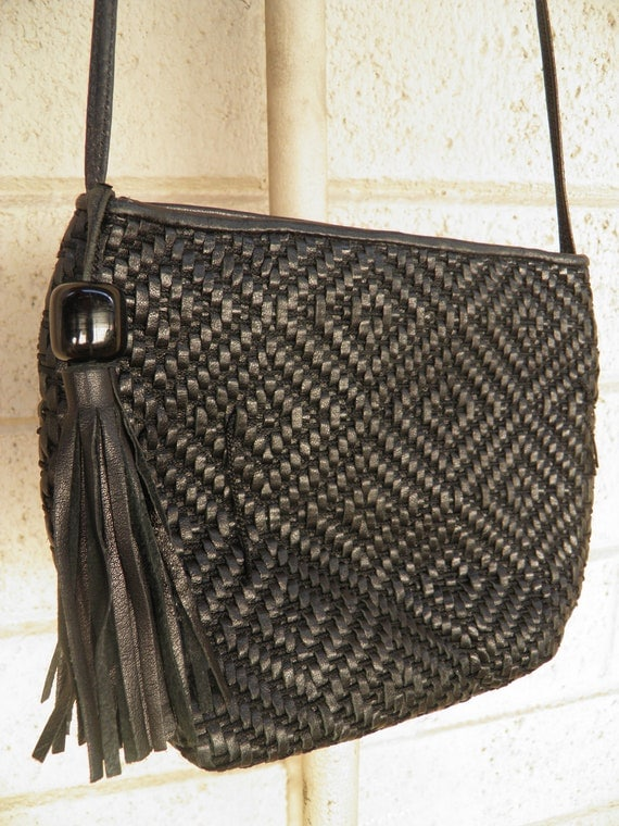 1980s Woven Black Leather Shoulder Bag Purse with Tassel By Sharif Made in USA