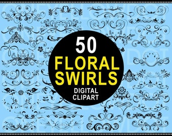 INSTANT DOWNLOAD - 50 Floral Swirls - Digital Clipart 502 - All Big Size - PNG - Personal and Commercial Use - No Credit Required