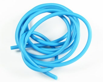 Rubber cord 5mm hollow tubing, dark sky blue, 6 feet