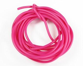 Rubber cord 3mm, solid, Fuchsia, 10 feet
