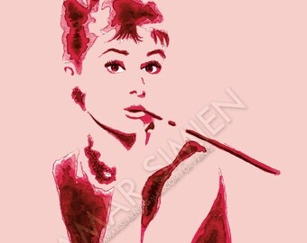 "Audrey Hepburn watercolor painting- red and pink- Breakfast at Tiffany's- celebrity artwork- 8"" x 10"" art print- FREE SHIPPING"