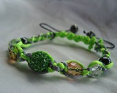 Handmade Green/Silver Satin Cord Macrame Bracelet with Green,Multi toned and Clear Beads
