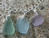 Pink, Blue and Sea Foam Sea Glass Charm Necklace