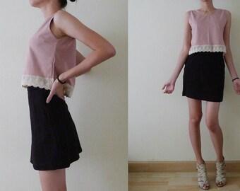 100% thick cotton plain sleeveless tank top, crop top, vest, crochet lace trim, spring - summer blouse