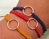 Hemp bracelets with circle charms -- For CHARITY, 2 dollars of every sale with be donated to the Juvenile Diabetes Research Fund