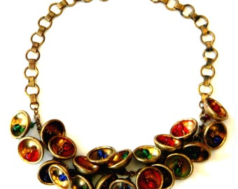 Vintage 1930s Miriam Haskell Style Sapphire Ruby Emerald Glass Bead Gilded Brass Bells Necklace