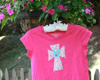 girls heart and cross tshirt ~~ready to ship~~
