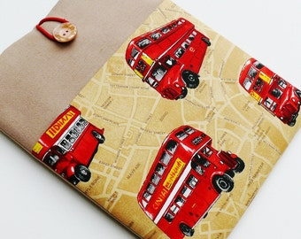 """Tablet Case, iPad PRO 9.7,iPad Air Cover, 8-10"""" Custom Size Case with Pocket - Shock Absorbent Foam Padding - Designer Fabric """"LONDON BUSES"""""""