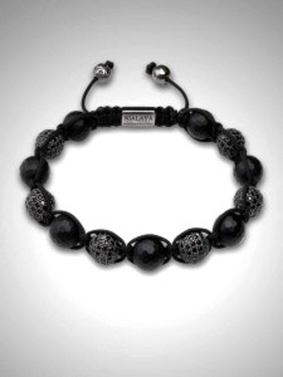 NEW European bracelet 10MM Hip Hop disco pave balls black CZ crystal Disco Balls Macrame Adjustable bracelet - NY010