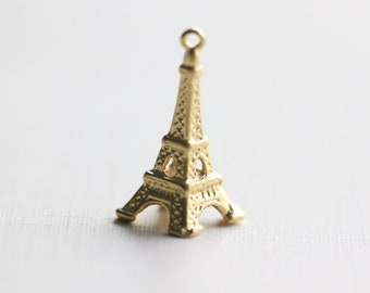 Vermeil Eiffel Tower French Gold Charm - gold plated over sterling silver, 20mm Paris travel gold pendant