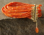 Red and Pink Coral Multi-Strand Seed Bead Bracelet / 14KGF Matte Seed Beads /Carnelian Briolette Charm / 14KGF Clasp