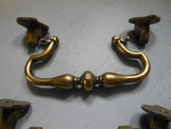 Eight Vintage Brass Drawer Handles