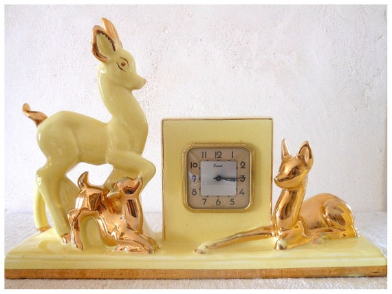 RESERVED Vintage 1950s CLOCK and LAMP - pale yellow, doe, fawn, stag - art deco mid-century