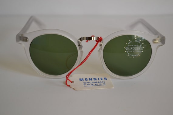 Vintage Monnier (of Oyonnax, France) Matt Clear Round Sunglasses