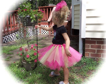 Pageant Boutique custom made Toddler girls 2pc neon green and pink Tutu set with matching hairbow size 3T-4T