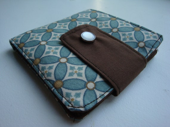 SALE: Teal and brown overlapping circle pattern bi-fold fabric wallet with contrasting lining
