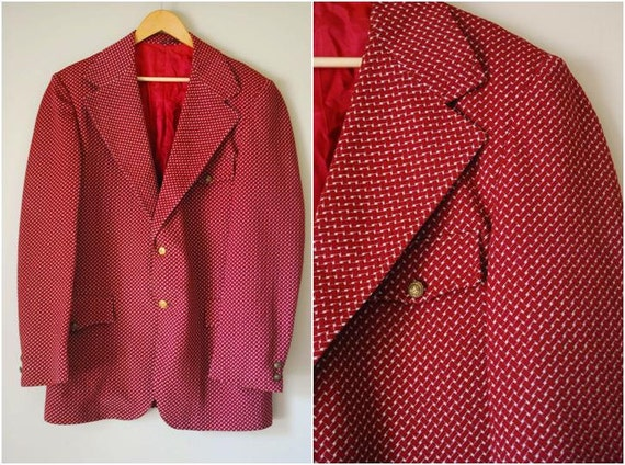 70s Mens Maroon Patterned Blazer with Gold Buttons