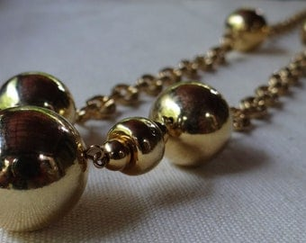 Vintage Gold Tone Opera Length Chain Necklace with Gold Ball Accents